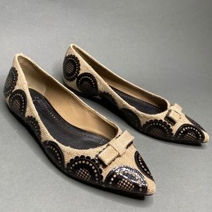 Tory Burch Pippa Burlap Patent Leather Point Flats